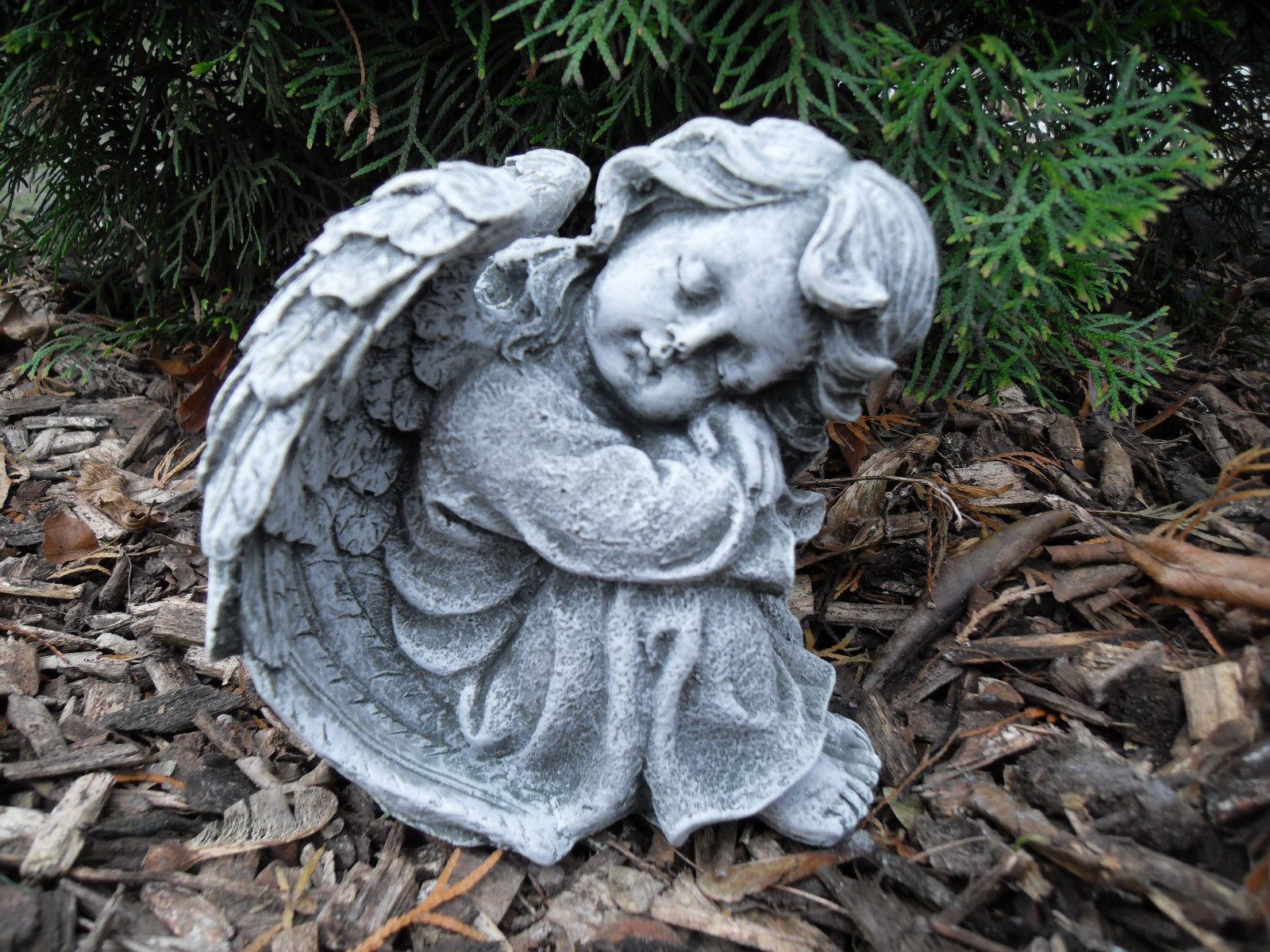 Steinfigur wunderschöne Engel Figur Steinfigur Grabdeko aus Steinguss frostfest